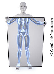 statue xray - man under the X-rays through the screen.