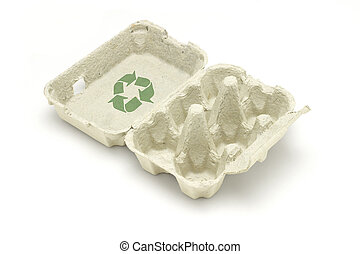 Recycle symbol on egg carton isolated white background