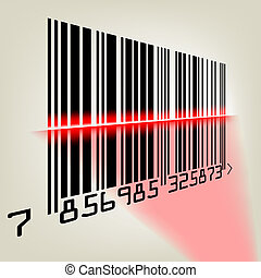 Bar code with laser light. EPS 8 vector file included