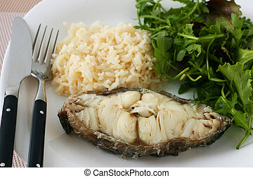 Boiled fish with rice