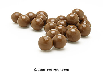 Dark brown Chocolate balls on white background