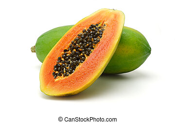 Papaya fruits - Half cut and whole papaya fruits on white...