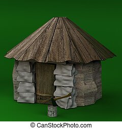 Hut 3d rendered