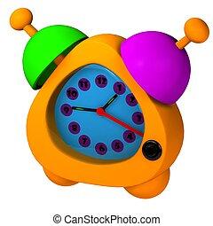 Orange alarm 3d rendered