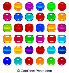 3d glassy buttons for web design - 3d glassy color spheres...