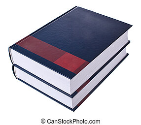 Heavy books on stack - Opened book on stack isolated on...