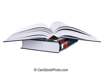 Heavy open books on stack - Opened book on stack isolated on...