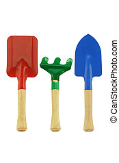 Colorful garden tools - Colorful kids garden tools on white...