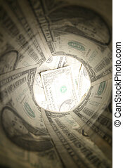 dollar tube look at money background