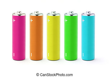 Multicolor AA size batteries on white background