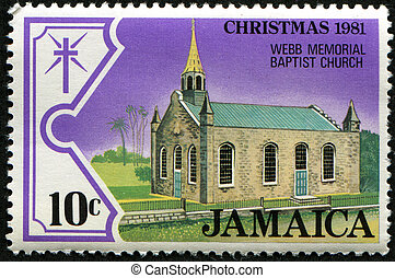 Webb memorial baptist church - JAMAICA - CIRCA 1981: A stamp...