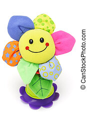 Sunflower smiley face doll on white background