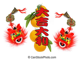 Chinese lunar new year greetings with lion head ornaments...