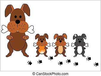 dog family - family of dogs in cartoon style on white