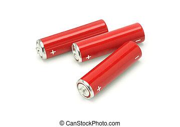 três, AA, tamanho, baterias
