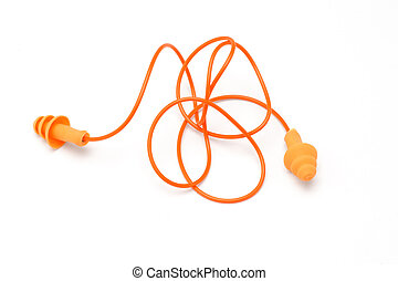 Ear plugs - Orange color ear plugs on white background
