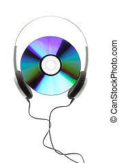 compacto, disco, auricular