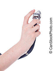 sthetoscope in hand isolated on white background