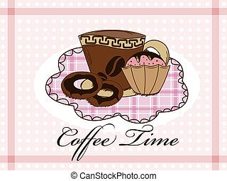 Dessert - Vector picture with coffee, donuts and muffin