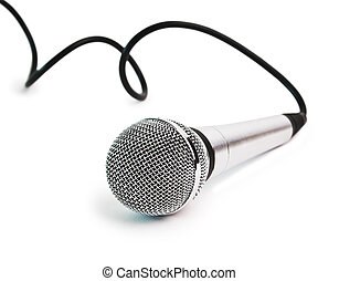 Classic dynamic microphone isolated on white background