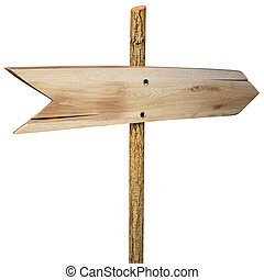 signpost - empty arrow sign made out of wood on a patch of...