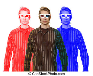Man Wearing 3D Glasses - A young man wearing retro 3D...