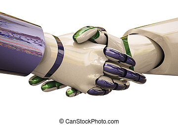 Handshake - Robots shake hands. With clipping path.