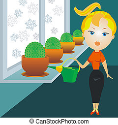 blonde woman watering cactuses