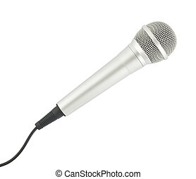 Microphone - Plugged in Microphone on White Background