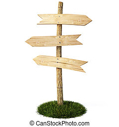 signpost - three empty arrow sign made out of wood on a...