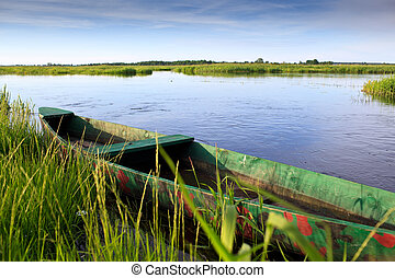Narew river - River Landscape with wooden boat