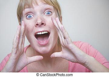 Shouting Woman - Portrait of a shouting woman
