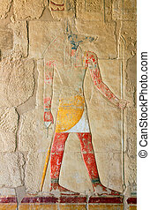 anubis - ancient egypt color image on wall in luxor