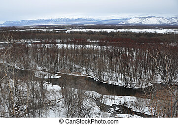 kamchatka - Winter landscape kamchatka with the river and...