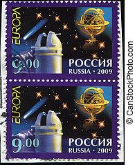 planetarium - RUSSIA - CIRCA 2009: A stamp printed in Russia...