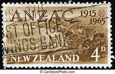 Anzac Day - NEW ZEALAND - CIRCA 1965: A stamp printed in New...