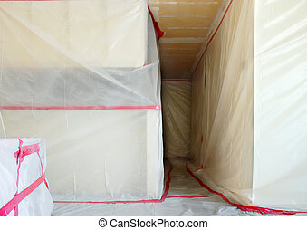 Asbestos Abatement - Room covered with clear plastic...