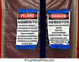 Asbestos Abatement Signs - Bilingual asbestos warning signs...