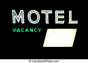 Motel Sign with Board - Motel and vacancy neon signs with...