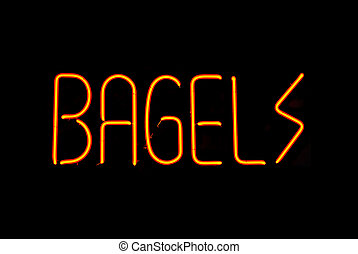 Bagels Neon Sign - Red bagels neon sign isolated on black...