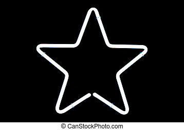 White Star Neon Sign - White star neon sign isolated on...