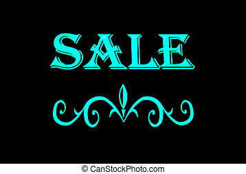 Sale Neon Sign - Green sale with scroll neon sign isolated...