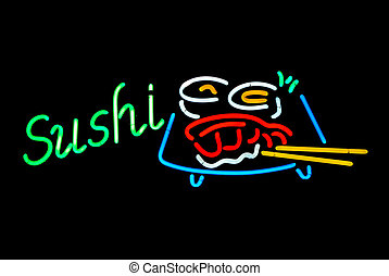 Sushi Neon Sign - Sushi neon sign isolated on black...