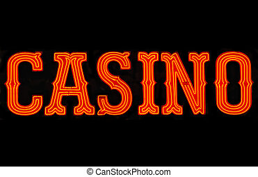Casino Neon Sign - Red casino neon sign isolated on black