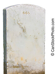 Headstone 666 - Headstone with evil 666 engraving with...