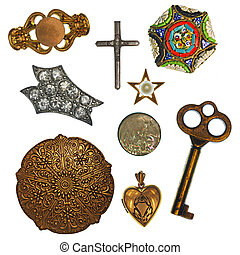 Antique Trinkets - Collage of antique jewelry and trinkets...