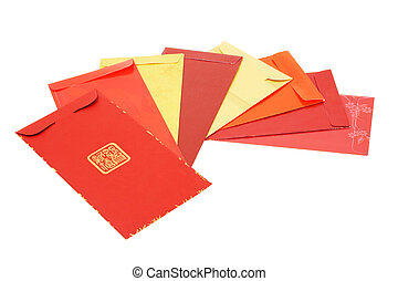 Eight Chinese new year red packets arranged on white...