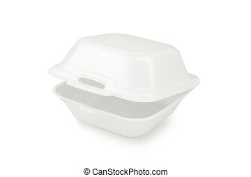 Styrofoam container - Styrofoam lunch box isolated on white...