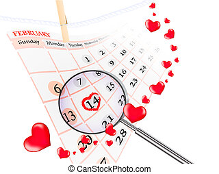 Valentine day theme with calendar and hearts