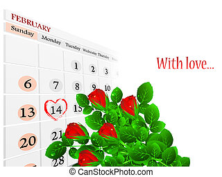 Valentine day theme with roses and copyspace